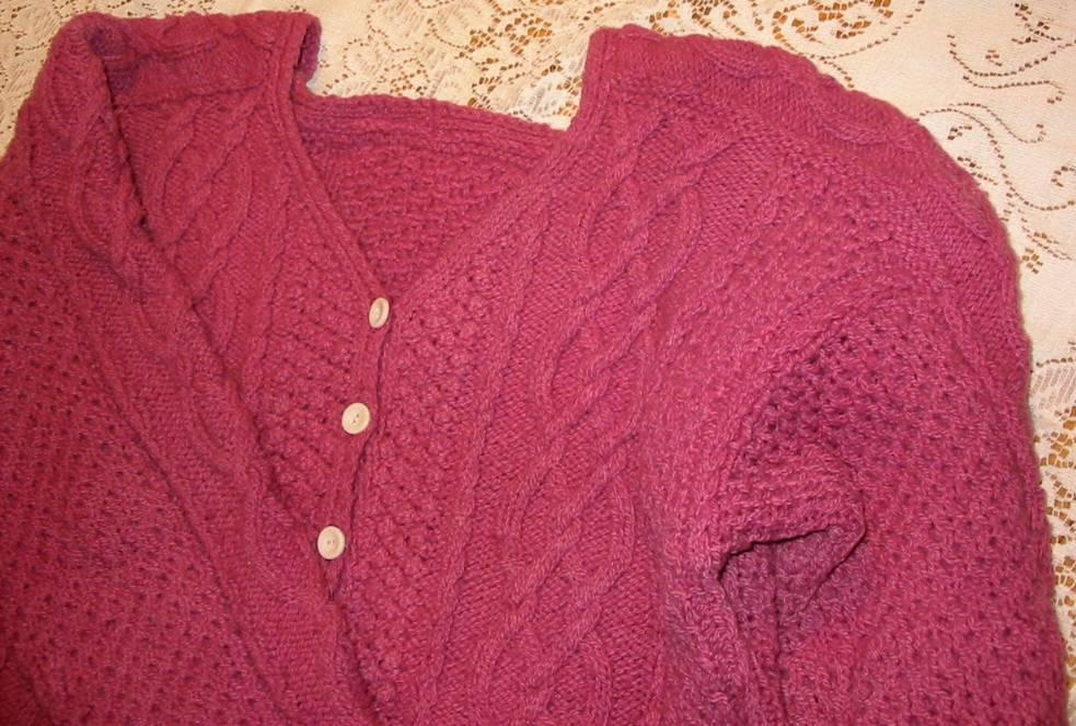 16sw Aran Cardigan W Saddle Shoulder Knitting Pattern